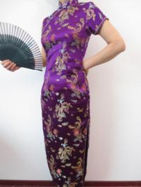Fantastische lange paarse chinese jurk met draken en phoenix motief maat 36 laatste