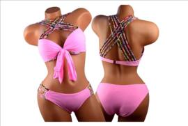 Prachtige plus size bikini gekleurde bandjes roze maat 36 t/m 46
