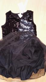 Ge-wèl-dig omkeerbare pailletten jurkje met petticoat zwart/zilver maatje 92 t/m 110