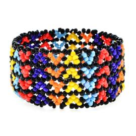 Leuke Bohemian elastische armband van kleine kraaltjes zigzag klein