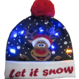 Superleuke Kerstmuts met lichtjes Let it snow