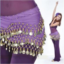 Leuke paarse chiffon heupsjaal gouden muntjes