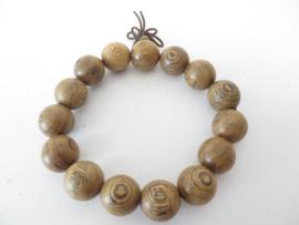 Mala gebedsarmband sandalwood naturel kralen 1,5 cm