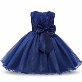 Schitterende luxe feestjurk met rozen en sparkle rok donkerblauw maat 140/146