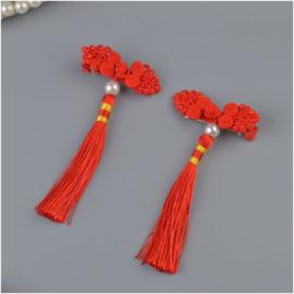 Superleuk setje èchte chinese haarclips rood knoopornament met parel en kwastje