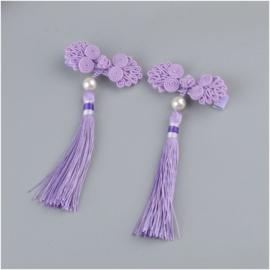 Superleuk setje èchte chinese haarclips lila knoopornament met parel en kwastje