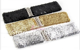 Brede elastieken glitterriem zilver, goud of zwart