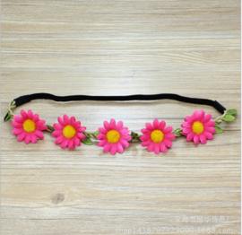 Leuke elastieken haarband met fuchsia bloemen