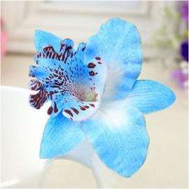 Haarclip enkele orchidee blauw