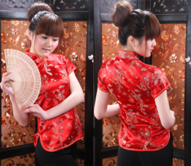 Mooi rood getailleerd chinees blousje draken motief