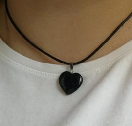 Veterketting met hart van geslepen Zwarte Onyx