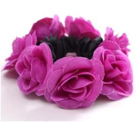 Scrunchie met roosjes paars