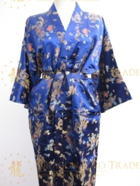 Schitterende lange kobaltblauwe brokaat unisex kimono met draken one-size