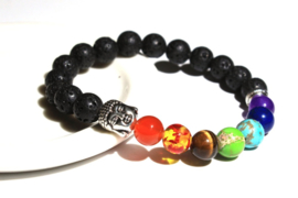 Armband Lavasteen met 7 Chakra kralen en Boeddha