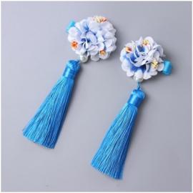 Superleuk setje èchte chinese haarclips met blauwe bloem en kwastje