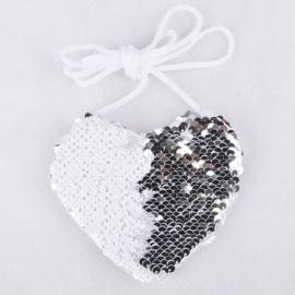 Superleuk glitter pailletten tasje hart zilver/wit
