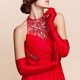 Lange gala handschoenen meiden/damesmaat rood