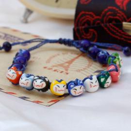 """Verstelbaar kralenarmbandje """"Lucky cat"""" blauw"""