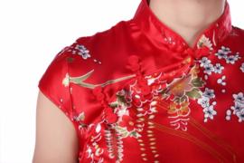 Bijzonder mooi chinees jurkje rood met rode chinese knoopjes bloemenprint t/m maat 40