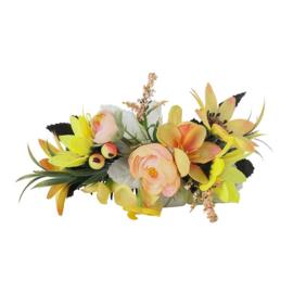 Grote romantische haarkam met gele bloemen