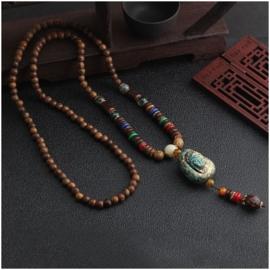 Nepalese geluksketting met Boeddha amulet