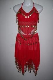 Leuke rode Oosterse buikdansset topje met puntenrok met gouden muntjes