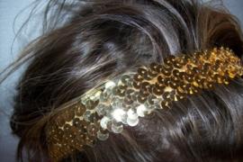 Elastieken haarband met glitterpailletten goud