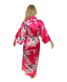 Prachtige  enkellange dameskimono met pauwen fuchsia