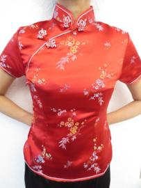 Mooi rood getailleerd chinees blousje bloesem motief