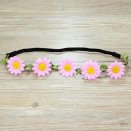 Leuke zomerse elastieken haarband met roze bloemen