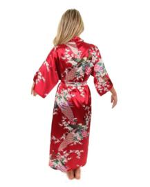 Prachtige  enkellange dameskimono met pauwen rood