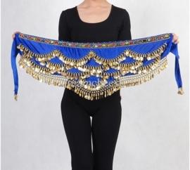 Mooie luxe kobaltblauwe fluwelen heupsjaal gekleurde steentjes en gouden muntjes