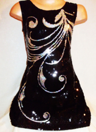 Prachtig zwart glitter pailletten jurkje met elegant zilveren veerpatroon