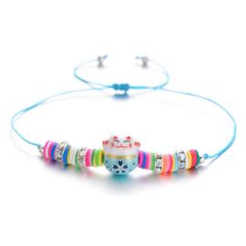 """Schattig kleurrijk verstelbaar armbandje """"Lucky cat""""  blauw"""