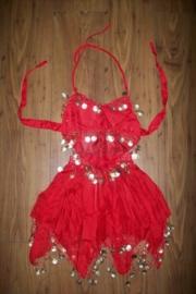 Leuk kinder buikdans setje met rinkelende gouden muntjes rood 116-140