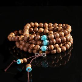 Mala unisex gebedsketting/armband sandalwood naturel met turkoois kralen