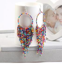 Prachtige Bohemian oorbellen kleine kraaltjes multicolor 10 cm