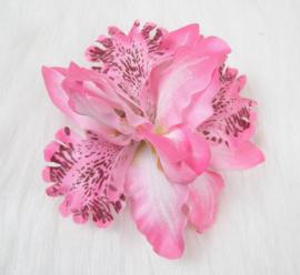 Haarclip/broche driedubbele orchidee roze