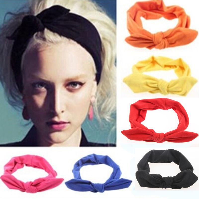Superleuke haarband met strik effen zwart damesmaat