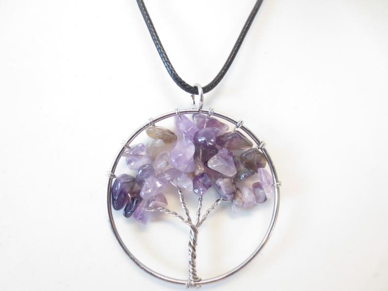 Prachtige amulet ketting Tree of Life Amethyst