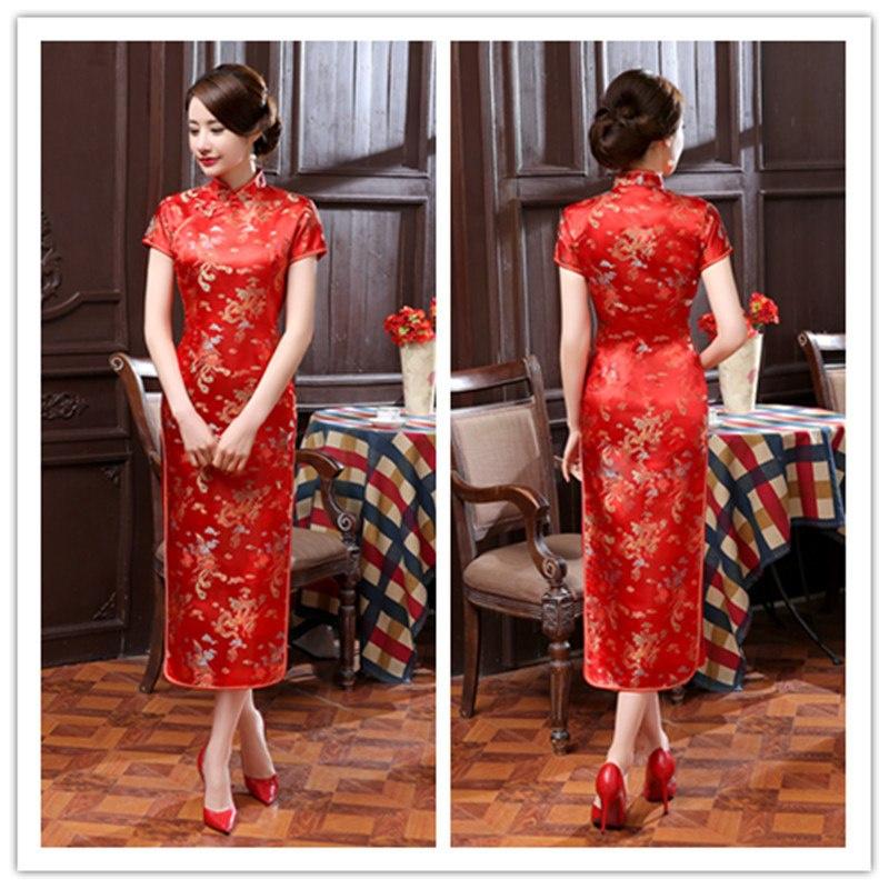 Fantastische lange rode chinese jurk draken en phoenix motief