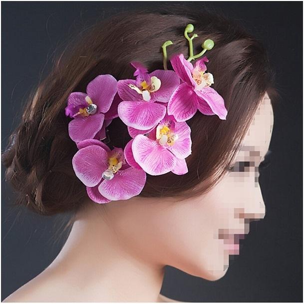 Prachtige grote haarclip orchidee lila/paars