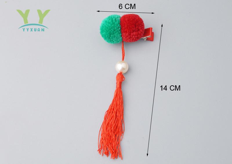 Superleuk setje èchte chinese haarclips met rood en groen bolletje en kwastje
