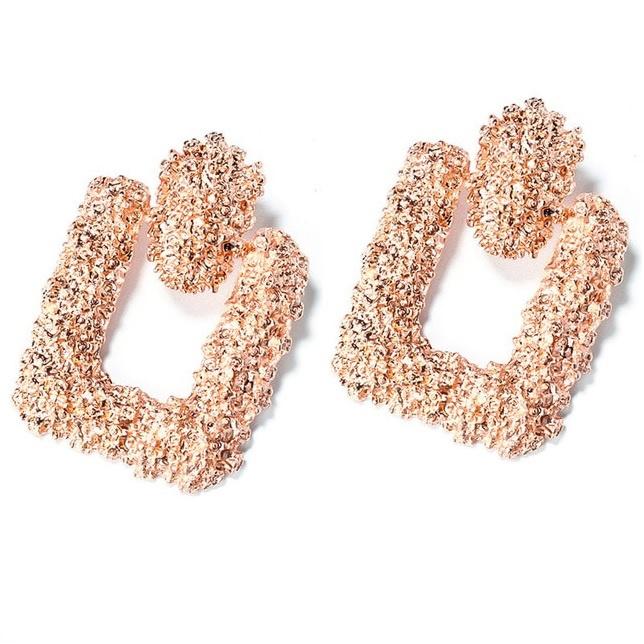 Rosegouden chunky vierkante statement oorbellen 6 cm