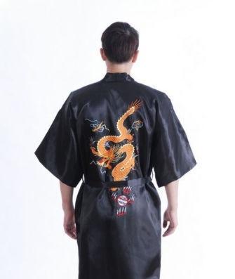 Stoere korte zwarte kimono met draak op achterzijde