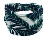 Mooie brede haarband zwart/wit/turquoisegroen blad