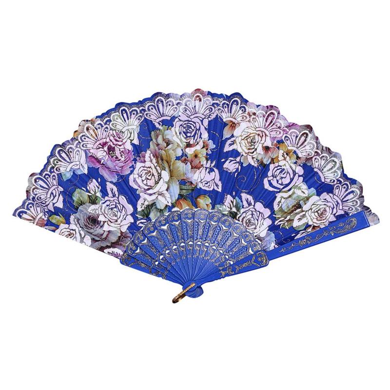 Prachtige handwaaier van stof met grote bloemen kobaltblauw