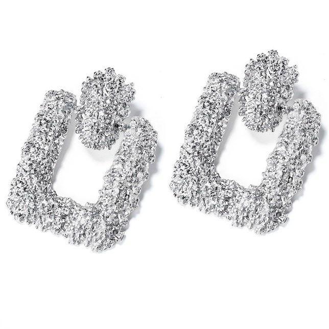 Zilveren chunky vierkante statement oorbellen 6 cm