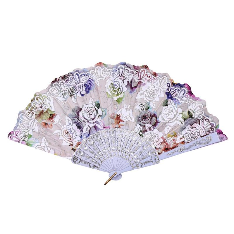 Prachtige handwaaier van stof met grote bloemen wit