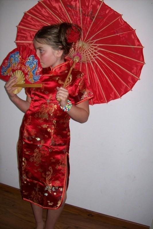 Rode bamboe handbeschilderde parasol 85 cm
